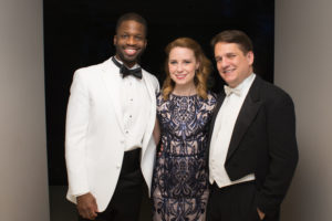 Justin Hopkins and Erica Spyres with Keith Lockhart backstage at the Palladium (Sam Brewer)